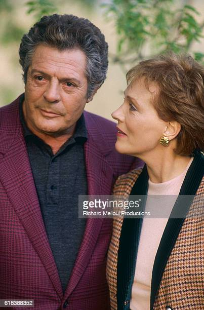 Italian actor Marcello Mastroianni and and British actress Julie Andrews stand together on the set of the 1991film Cin Cin in Biarritz The Italian...