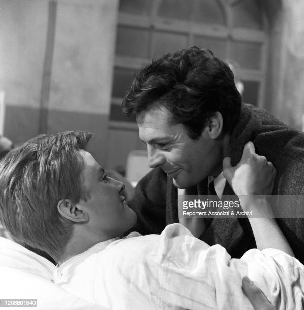 """Italian actor Marcello Mastroianni and French actor Jacques Perrin in the film """"Family Diary"""" directed by Italian director Valerio Zurlini. They're..."""