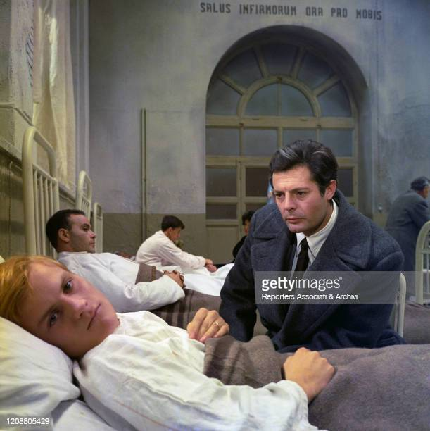 """Italian actor Marcello Mastroianni and French actor Jacques Perrin in the film """"Family Diary"""" directed by Italian director Valerio Zurlini. The first..."""