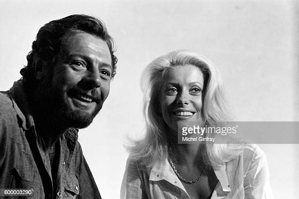 Italian actor Marcello Mastroianni and French actress Catherine Deneuve on the set of Liza directed by Marco Ferreri
