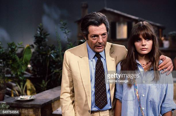 Italian actor Marcello Mastroianni and French actress Marie Trintignant daughter of actor JeanLouis Trintignant and director Nadine Trintignant on...
