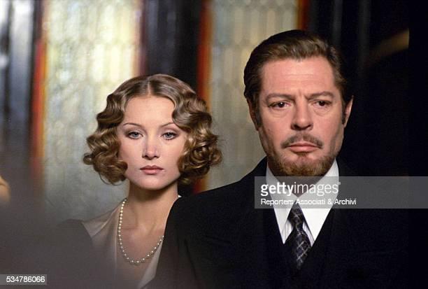 Italian actor Marcello Mastroianni and German-born Italian actress Barbara Bouchet in the film Down the Ancient Staircase. 1975