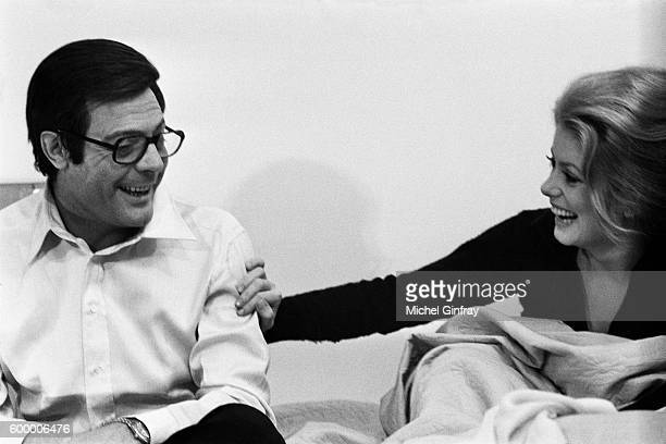 Italian actor Marcello Mastroianni and his partner French actress Catherine Deneuve sharing a laugh on the set of Ça n'arrive qu'aux autres written...