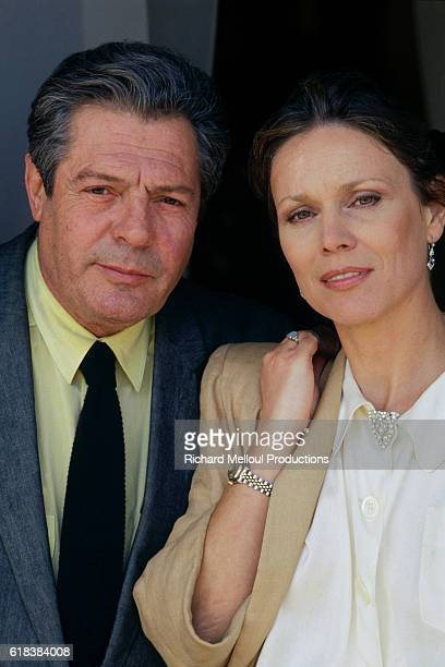 Italian actor Marcello Mastroianni and Swiss actress Marthe Keller attend the 40th Cannes Film Festival.