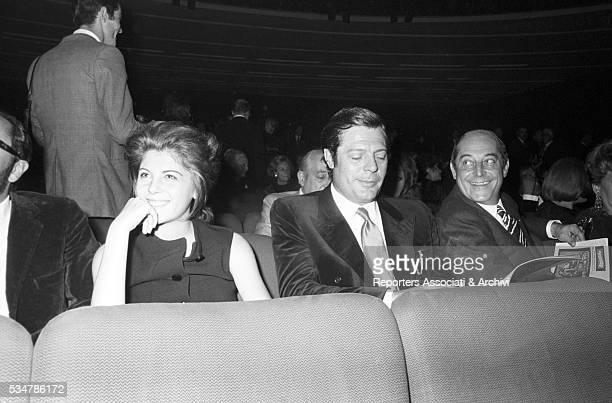 Italian actor Marcello Mastroianni attending a show at Sistina Theatre with his daughter Barbara Rome 1969