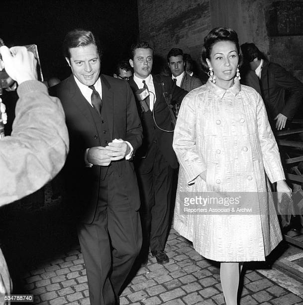 Italian actor Marcello Mastroianni attending an awarding ceremony at Castel Sant'Angelo with his wife Flora Carabella Rome 1972