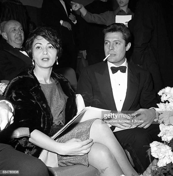 Italian actor Marcello Mastroianni attending the Nastro d'Argento awarding ceremony with his wife Flora Carabella 1958