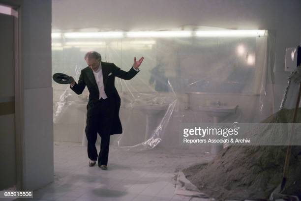 Italian actor Marcello Mastroianni dancing in a bathroom in Ginger and Fred 1985