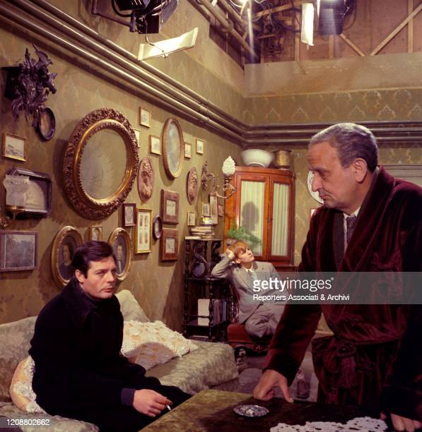 """Italian actor Marcello Mastroianni, French actor Jacques Perrin and Italian actor Salvo Randone in the film """"Family Diary"""" directed by Italian..."""