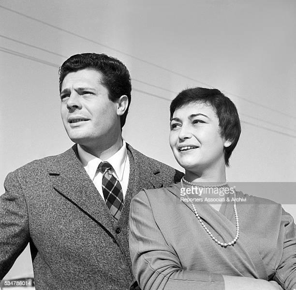 Italian actor Marcello Mastroianni on his terrace with his wife Flora Carabella 1955