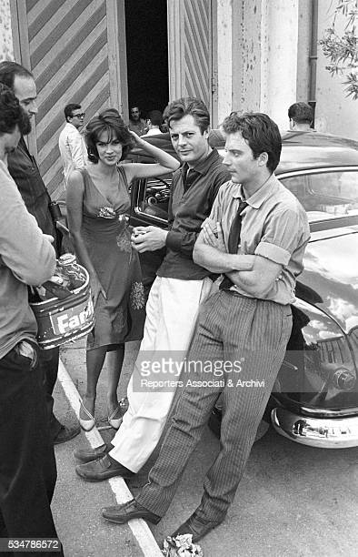 Italian actor Marcello Mastroianni visiting the film set of Bad Girls Don't Cry together with French actor JeanClaude Brialy Italian director Mauro...