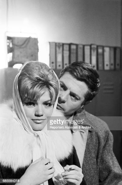 Italian actor Marcello Mastroianni with Italian actress Cristina Gaioni on the set of the film 'The Assassin' directed by Elio Petri Italy 1961