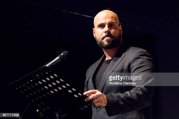 Italian actor Marco D'Amore attends the reading for the novel 'Il Selvaggio' by Guillermo Arriaga at Teatro Franco Parenti on May 10, 2018 in Milan,...