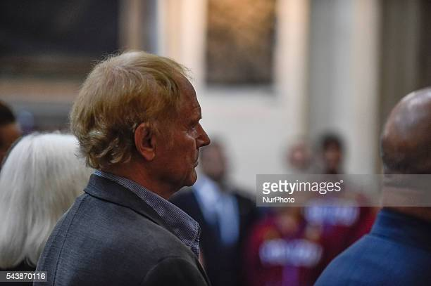 Italian actor Mario Girotti attends the funeral of Italian actor Bud Spencer born Carlo Pedersoli at the quotchurch of the artistsquot Santa Maria in...