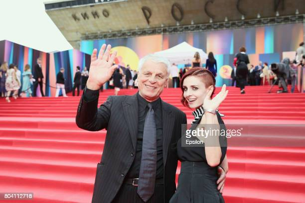 Italian actor Michele Placido and his wife, Italian actress Federica Vincenti attend the closing ceremony of the 39th Moscow International Film...