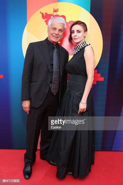 Italian actor Michele Placido and his wife Italian actress Federica Vincenti attend the closing ceremony of the 39th Moscow International Film...