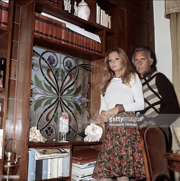 Italian actor Paolo Ferrari posing with his wife Italian actress Laura Tavanti 1974