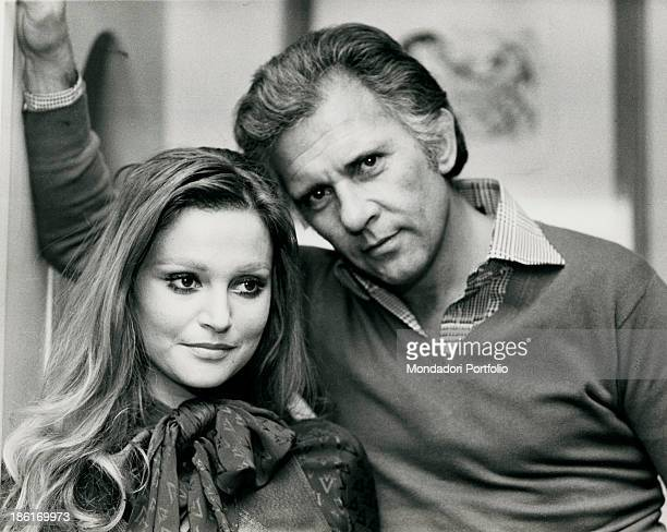 Italian actor Paolo Ferrari posing with his wife Italian actress Laura Tavanti Rome 1974