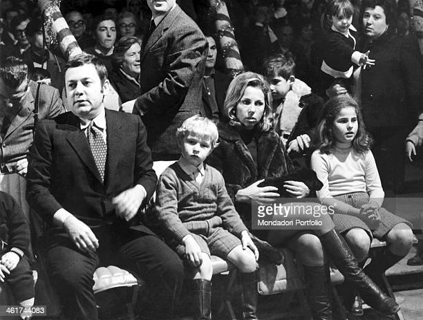 Italian actor Paolo Villaggio in company of his wife Maura Albites and their sons Piero and Elisabetta sitting among the audience in the study where...