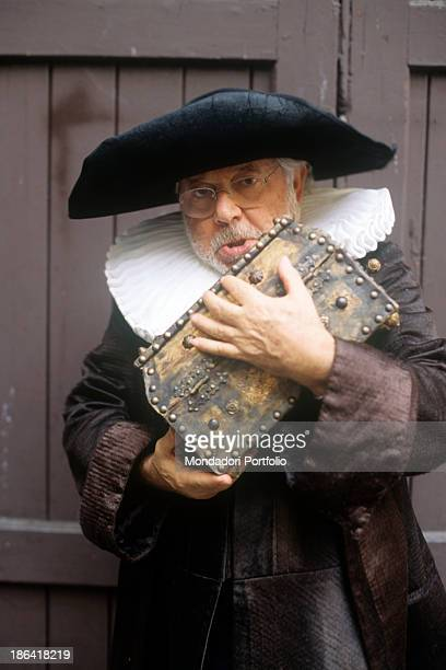 Italian actor Paolo Villaggio in stage costume for his first appearance in the theatre in the comedy The Miser by Molière, directed by Italian...