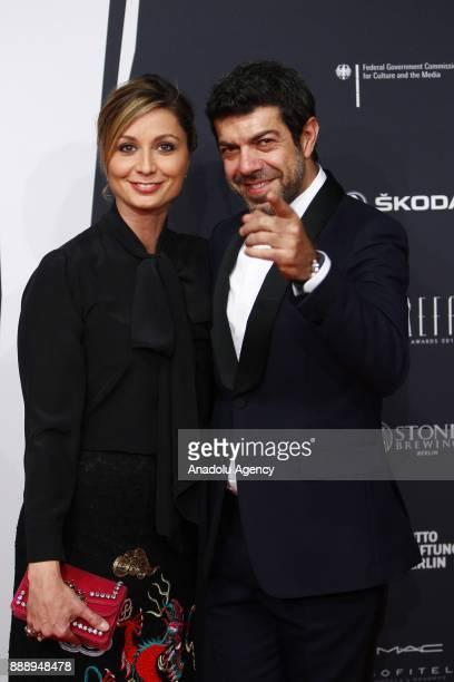 Italian Actor Pierfrancesco Favino and his wife Anna Ferzetti attend the 30th European Film Awards in Berlin Germany on December 9 2017
