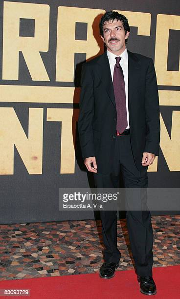 Italian actor Pierfrancesco Favino wearing Gucci attends Miracle At St Anna premiere at Warner Moderno Cinema on October 2 2008 in Rome Italy