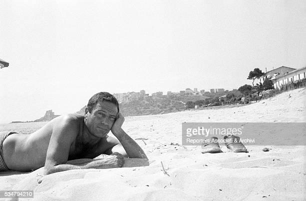 Italian actor Raf Vallone posing for a photoshooting in Sperlonga Sperlonga 1st July 1963