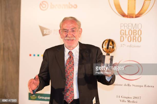 Italian actor Renato Carpentieri with his award during the photocall of the 2017 Globe Awards ceremony evening in the Villa Medici Gardens