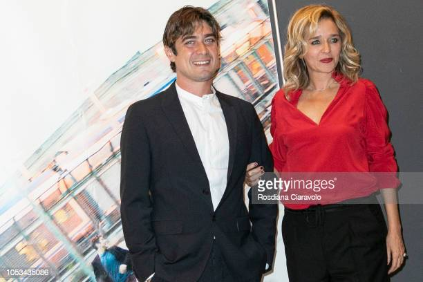 Italian actor Riccardo Scamarcio and Italian actress and director Valeria Golino attend Euforia photocall on October 25 2018 in Milan Italy