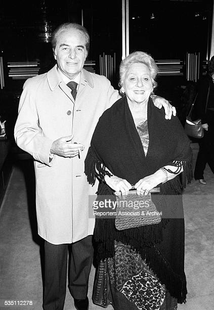 Italian actor Rossano Brazzi and his wife Lidia Bertolini attending the presentation of the TV movie La promessa 1979