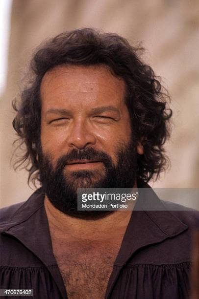Italian actor scriptwriter and film producer Bud Spencer smiling on the set of the film Soldier of Fortune Lucera 1975