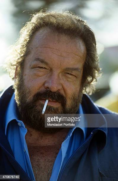 'Italian actor scriptwriter and film producer Bud Spencer smoking a cigarette in the film Speaking of the Devil 1990 '