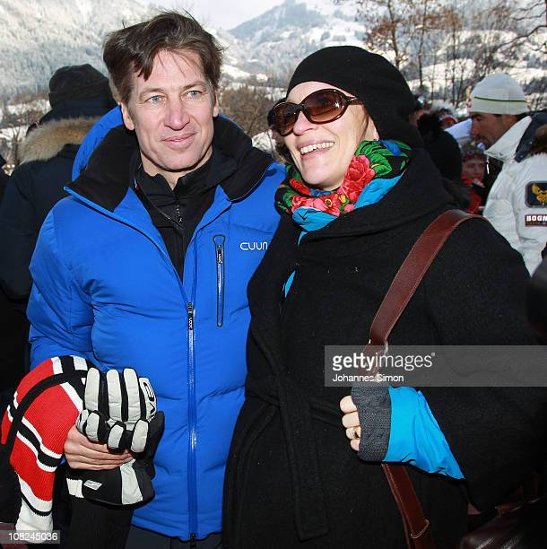 Italian Actor Tobias Moretti and his pregnant wife Julia attend the Hahnenkamm race on January 22 2011 in Kitzbuehel Austria