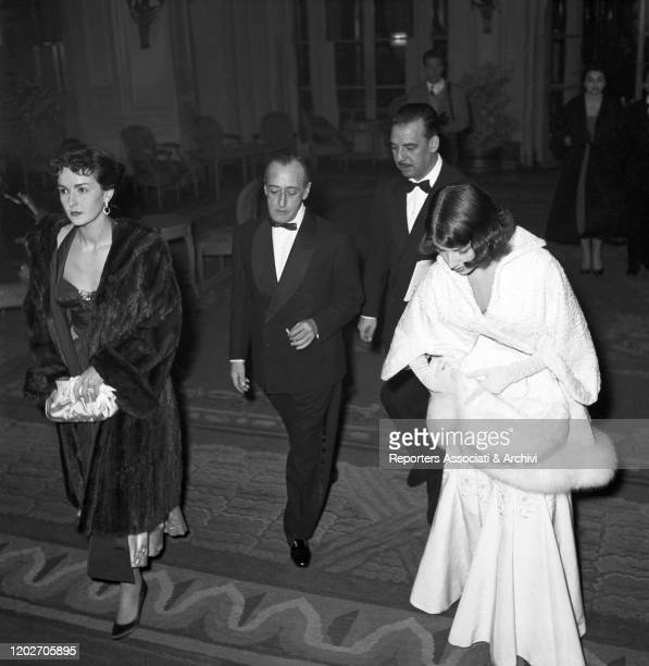 Italian actor Totò and his partner and Italian actress Franca Faldini attending the Gran Galà del Cinema at the Grand Hotel. Rome, 19th January 1956