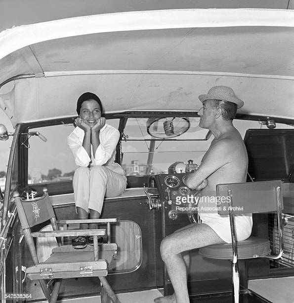 Italian actor Totò and his wife and Italian actress Franca Faldini during a boat trip Fiumicino 30th August 1955