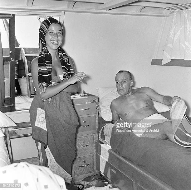 Italian actor Totò and his wife Italian actress Franca Faldini during a boat trip Fiumicino 30th August 1955