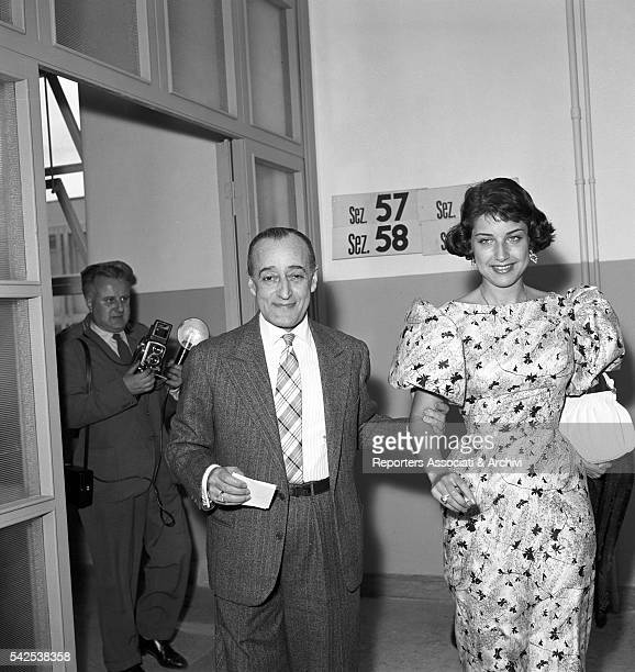 Italian actor Totò with his wife Franca Faldini voting for the election of the provincial council Rome 28th May 1956