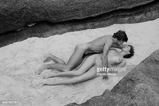 Italian actor Umberto Orsini and Dutch actress Sylvia Kristel on the set of Goodbye Emmanuelle written and directed by French François Leterrier