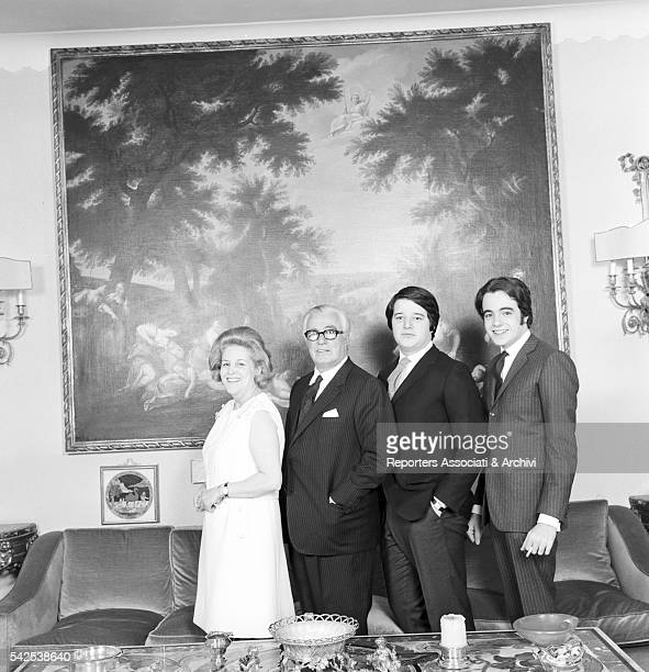 Italian actor Vittorio De Sica and his wife Maria Mercader with their children Manuel and Christian in their house Rome 15th November 1966