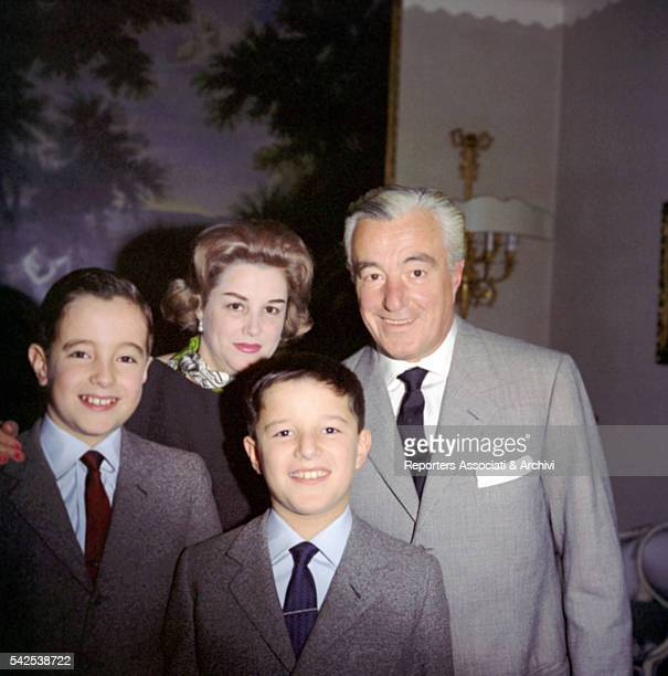 Italian actor Vittorio De Sica and his wife Maria Mercader with their children Manuel and Christian in their living room Rome 31st December 1961