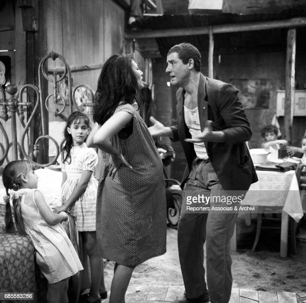 Italian actor Vittorio Gassman as roman hut is discussing with italian actress Angela Portaluri his pregnant wife in the film Opiate '67 segment Che...