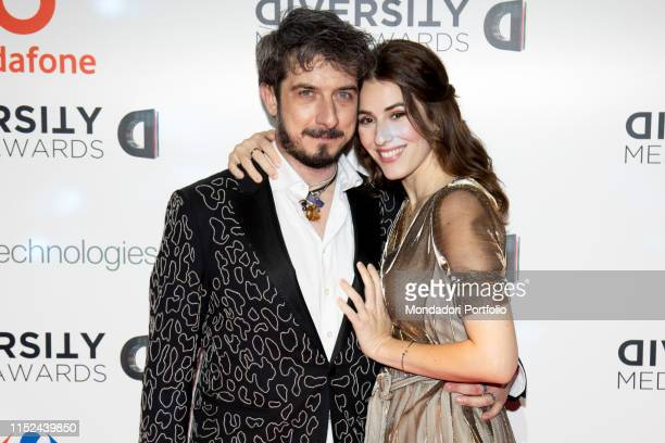 Italian actor youtuber and director Paolo Ruffini italian actress Diana del Bufalo during the Awards ceremony for the Diversity Media Awards 2019 a...