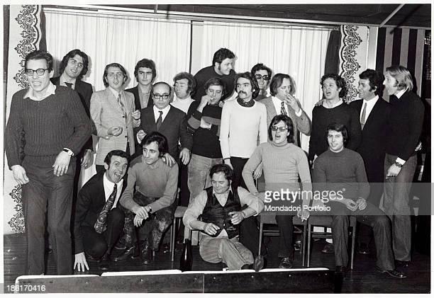 Italian actors and comedians Diego Abatantuono Massimo Boldi Teo Teocoli Renato Pozzetto Cochi Ponzoni Felice Andreasi Gianni Magni and Italian...