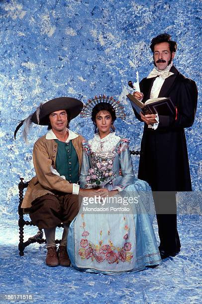 Italian actors and comedians Massimo Lopez, Tullio Solenghi and Anna Marchesini wearing the stage costumes of the TV mini-series I promessi sposi....