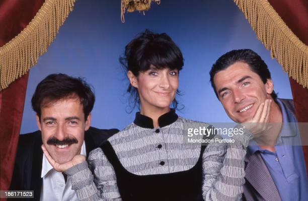 Italian actors and comedians Massimo Lopez Tullio Solenghi and Anna Marchesini smiling The comedians form the comic group called Trio Italy 1989