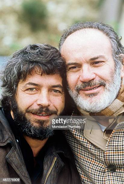 Italian actors Angelo Infanti and Mario Brega smiling on the set of the film Bianco rosso e Verdone 1981