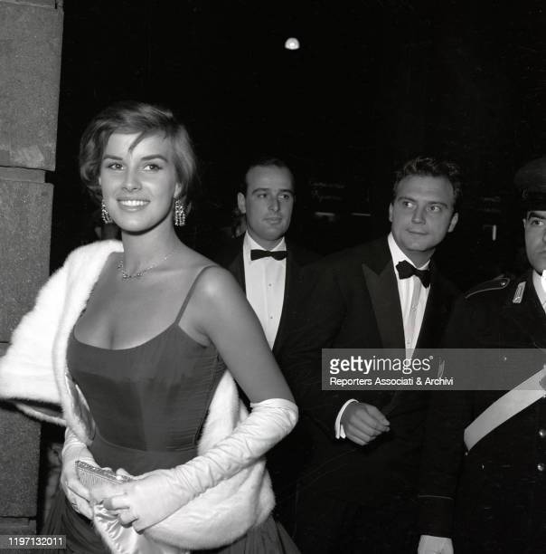 Italian actors Antonella Lualdi and Franco Interlenghi attending the gala for the premiere of the film War and Peace at the Opera Theatre in Rome...