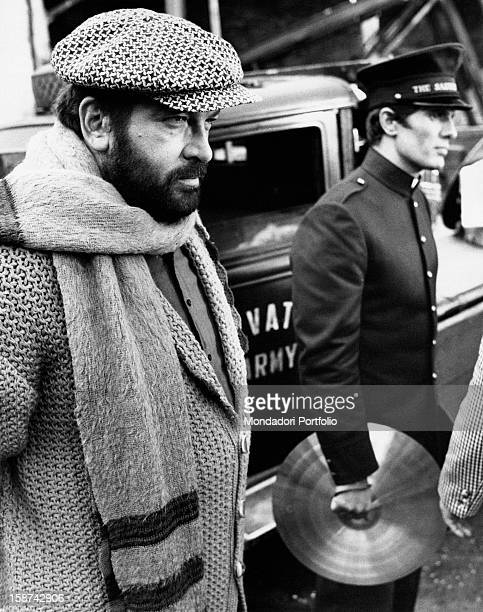 Italian actors Bud Spencer and Giuliano Gemma standing on the set of the film Even Angels Eat Beans. Rome, 1973