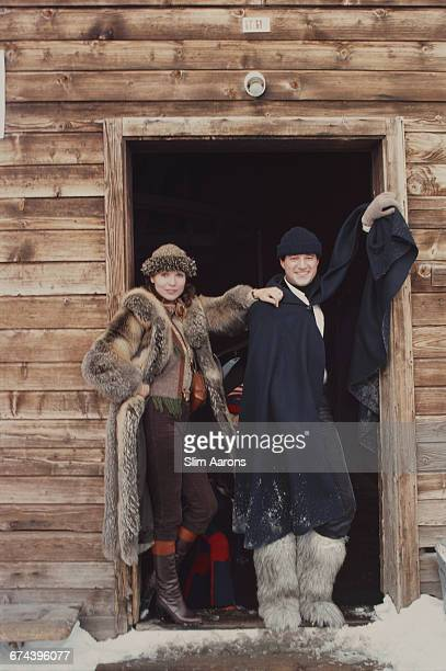 Italian actors Christian de Sica and Elsa Martinelli arrive at the Eagle Ski Club for lunch Gstaad Switzerland 1977