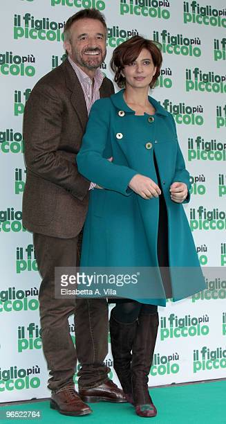 Italian actors Christian De Sica and Laura Morante attend 'Il Figlio Piu Piccolo' photocall at Embassy Cinema on February 9 2010 in Rome Italy